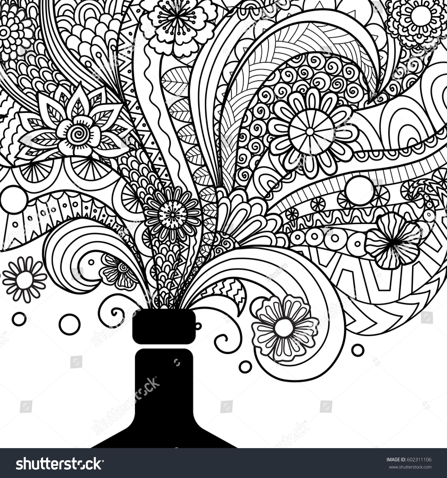 Champagne Bottle Line Art Design Coloring Stock Vector 602311106 ...