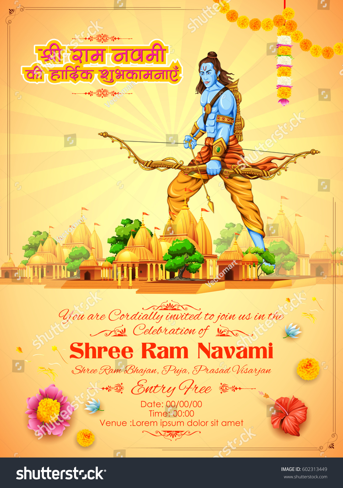 Illustration lord rama bow arrow hindi stock vector 602313449 illustration of lord rama with bow arrow with hindi text shri ram navami ki hardik shubhkamnaye stopboris Choice Image