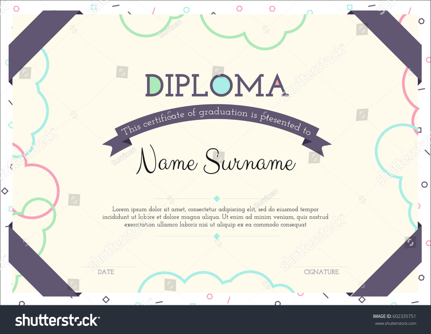Modern clear certificate graduation template flat stock vector modern clear certificate of graduation template flat diploma design xflitez Images