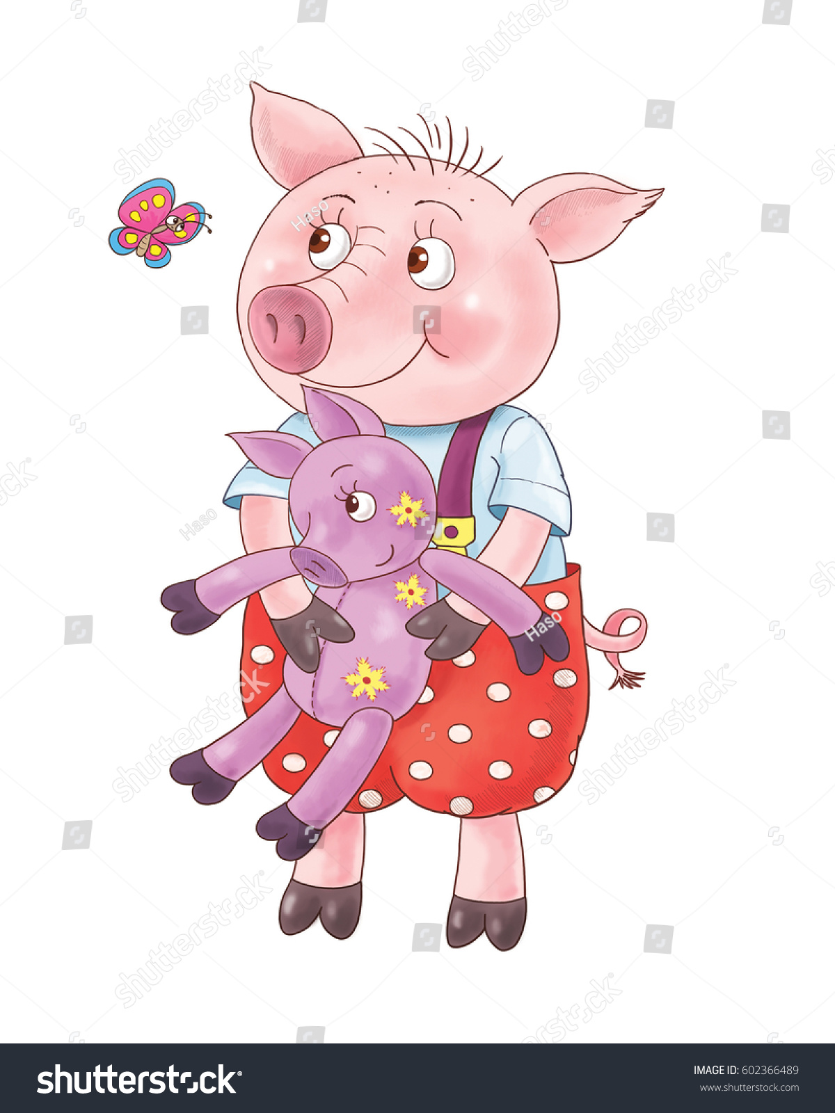 Three Little Pigs Fairy Tale Cute Stock Illustration 602366489 ...
