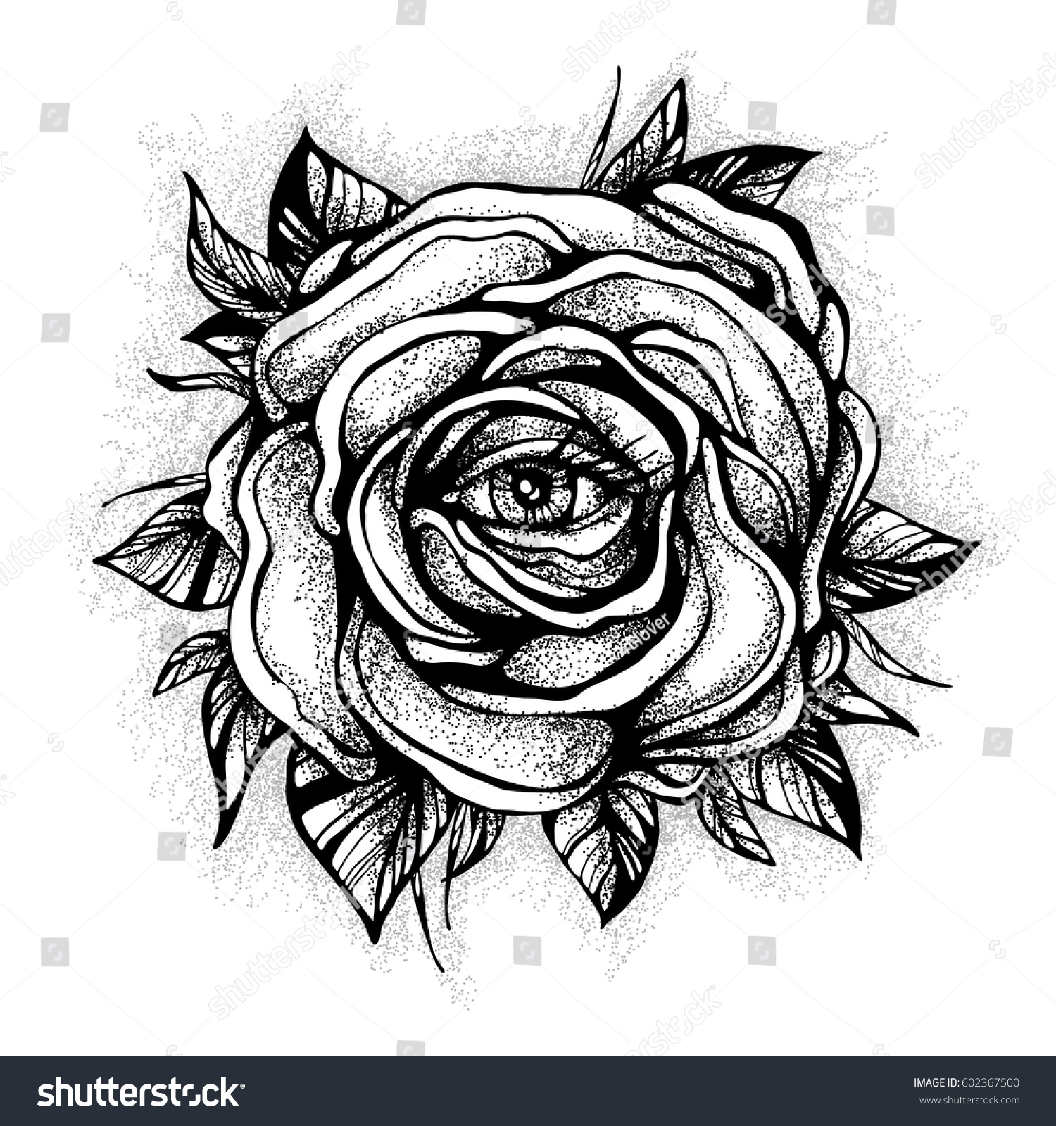 Black Tattoo Rose Flower Eye On Stock Vector 602367500