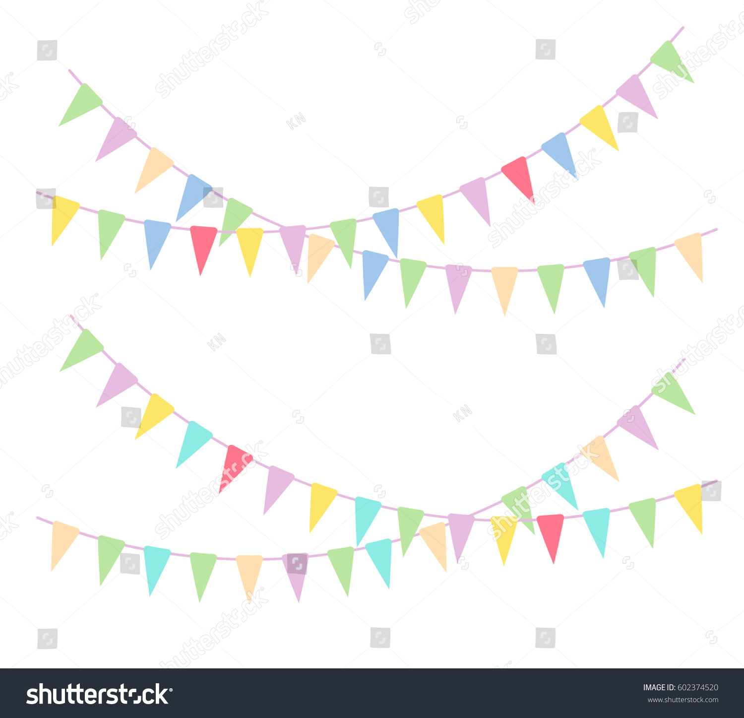 Vector bunting flags lovely celebration card with colorful paper - Birthday Party Vector Illustration Of Kid Birthday Party Festive Banner As Bunting Flags