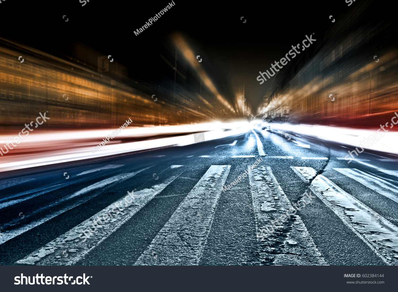 Blurred Car Lights Long Exposure Photo Stock Photo Edit Now 602384144