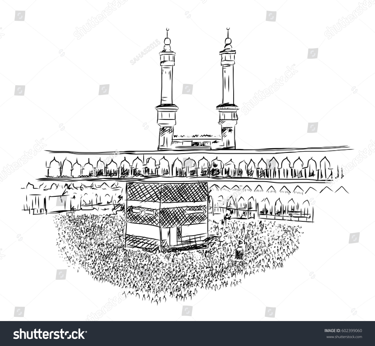 Umrah Banner: Sketch Of Mecca, Saudi Arabia. Vector… Stock Photo