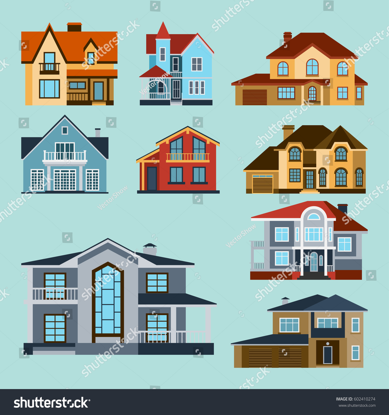 Houses front view vector illustration building stock for Residential home builder