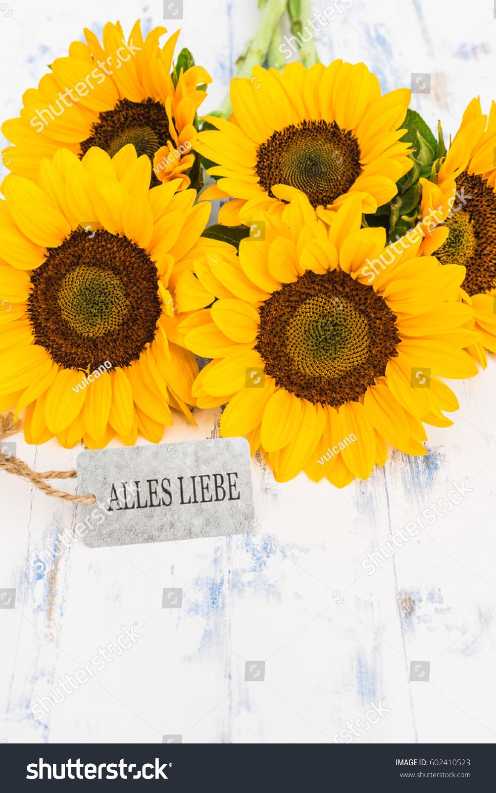 Bouquet Sunflowers German Text Alles Liebe Stock Photo Edit Now