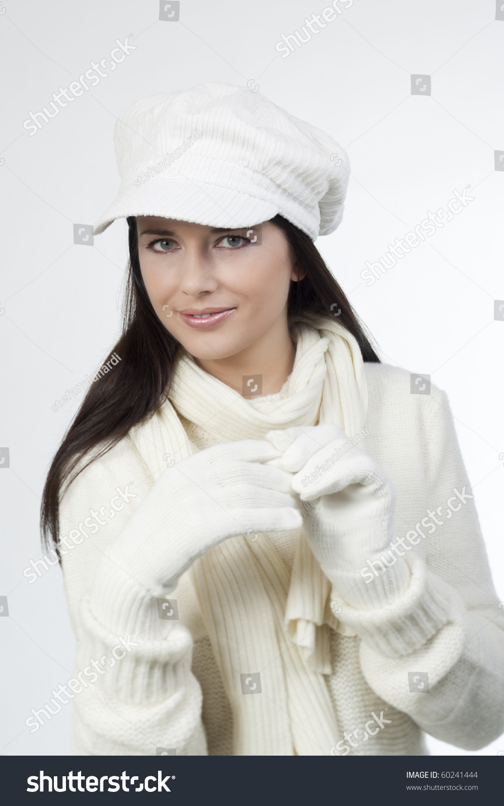 Young Woman Soft White Sweater Cap Stock Photo 60241444 - Shutterstock