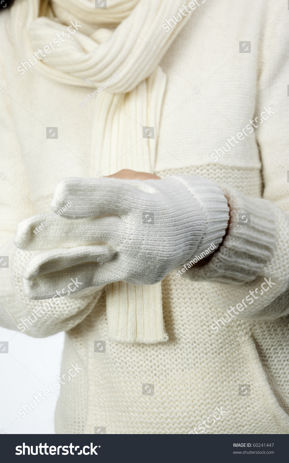 Young Woman Soft White Sweater Wearing Stock Photo 60241447 ...