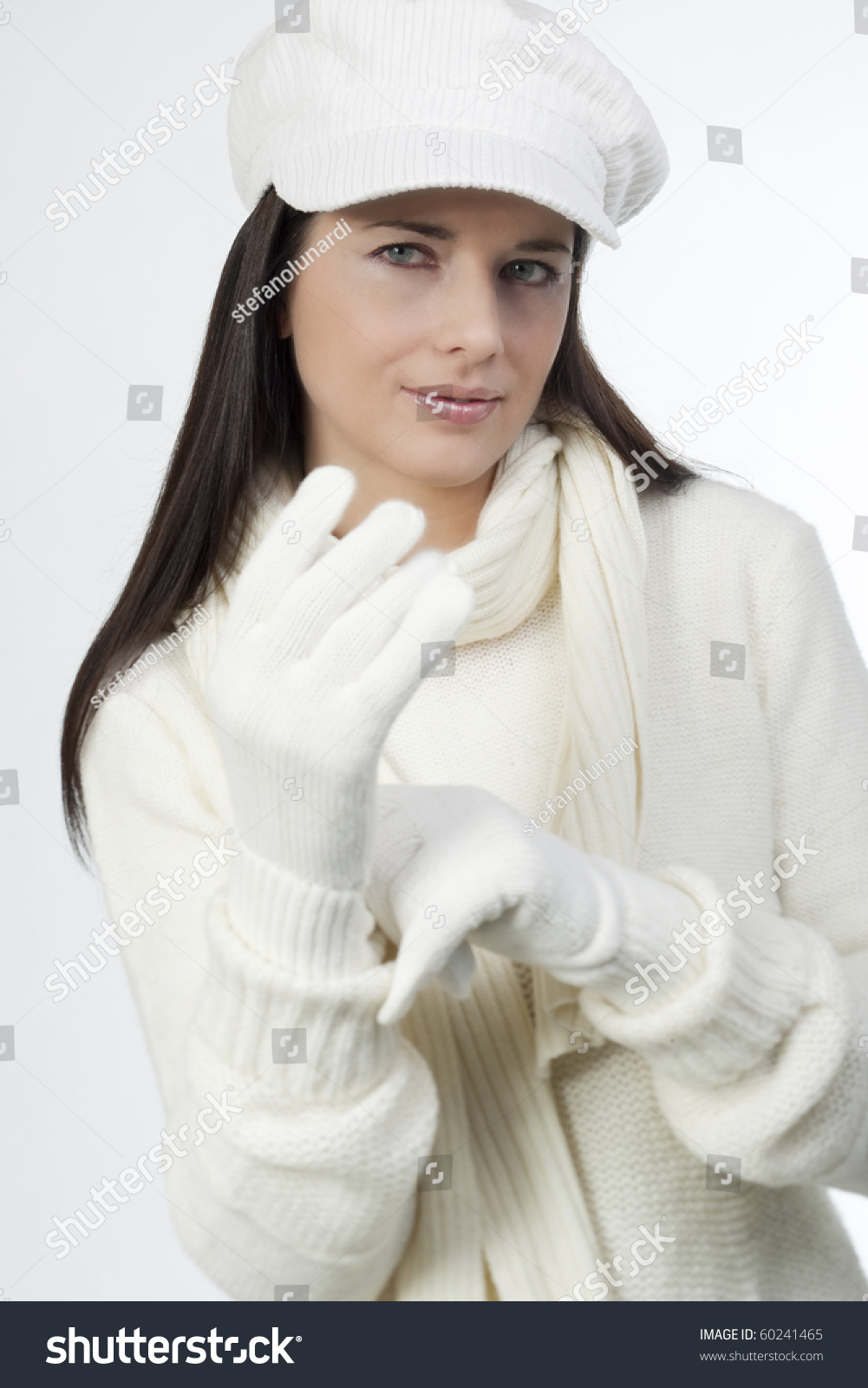 Young Woman Soft White Sweater Cap Stock Photo 60241465 - Shutterstock