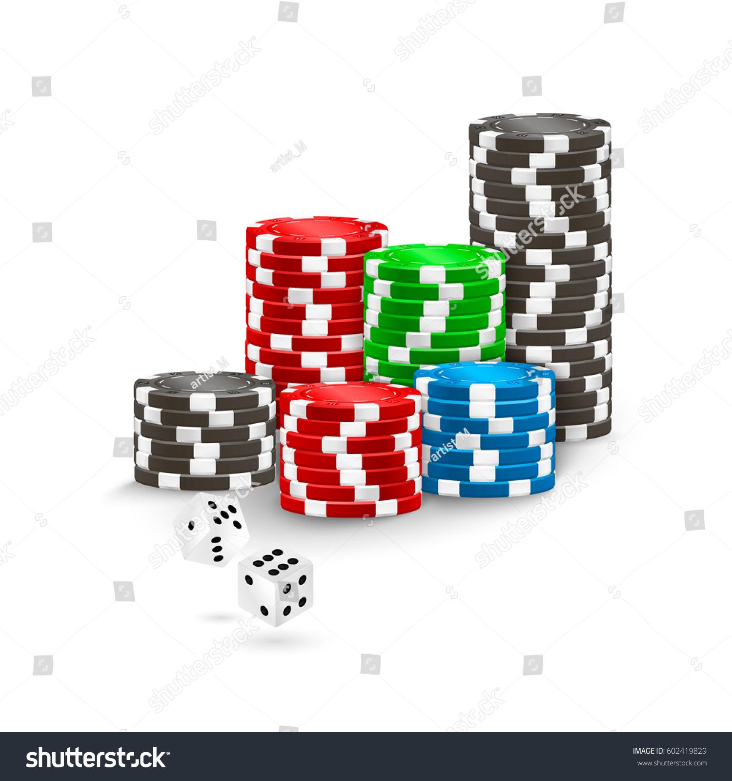 Poker Chips White Casino Dice On Stock Vector 602419829 - Shutterstock
