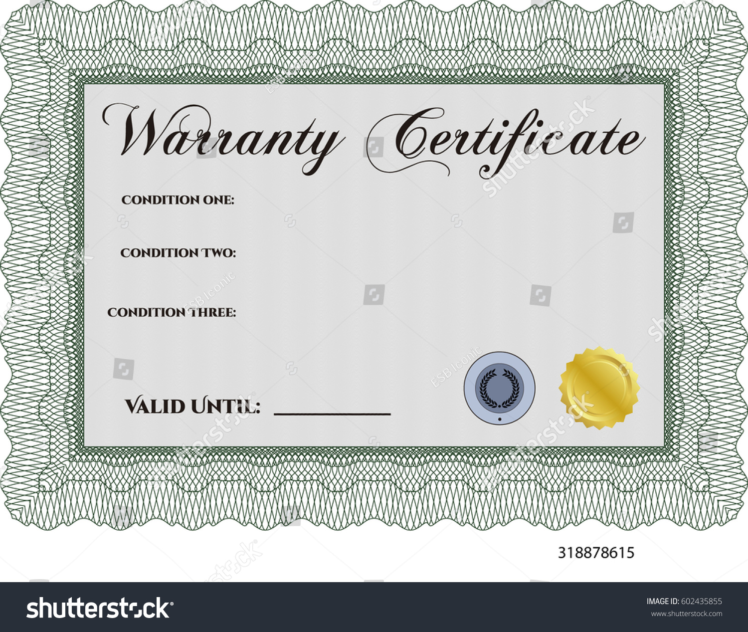 Vector illustration sample warranty certificate template vectores vector illustration of sample warranty certificate template icon in green yadclub Image collections