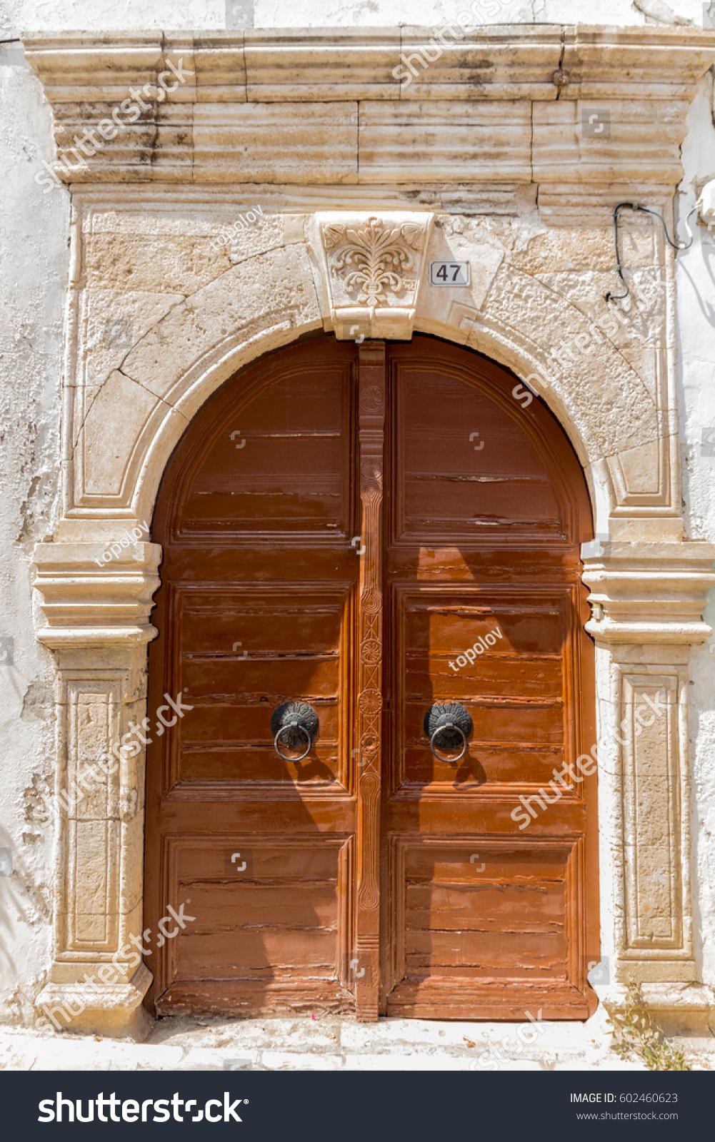 Old Wooden Brown Door In Rethymnon Greece Ez Canvas