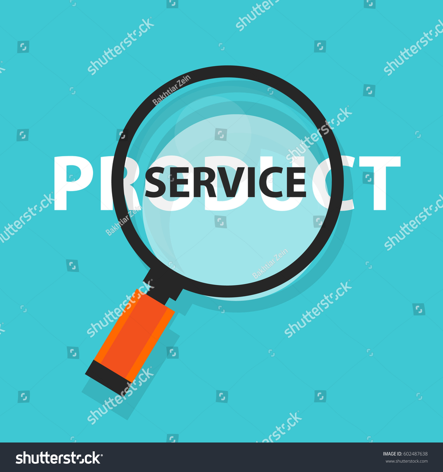 Product Service Concept Business Analysis Magnifying Stock Vector