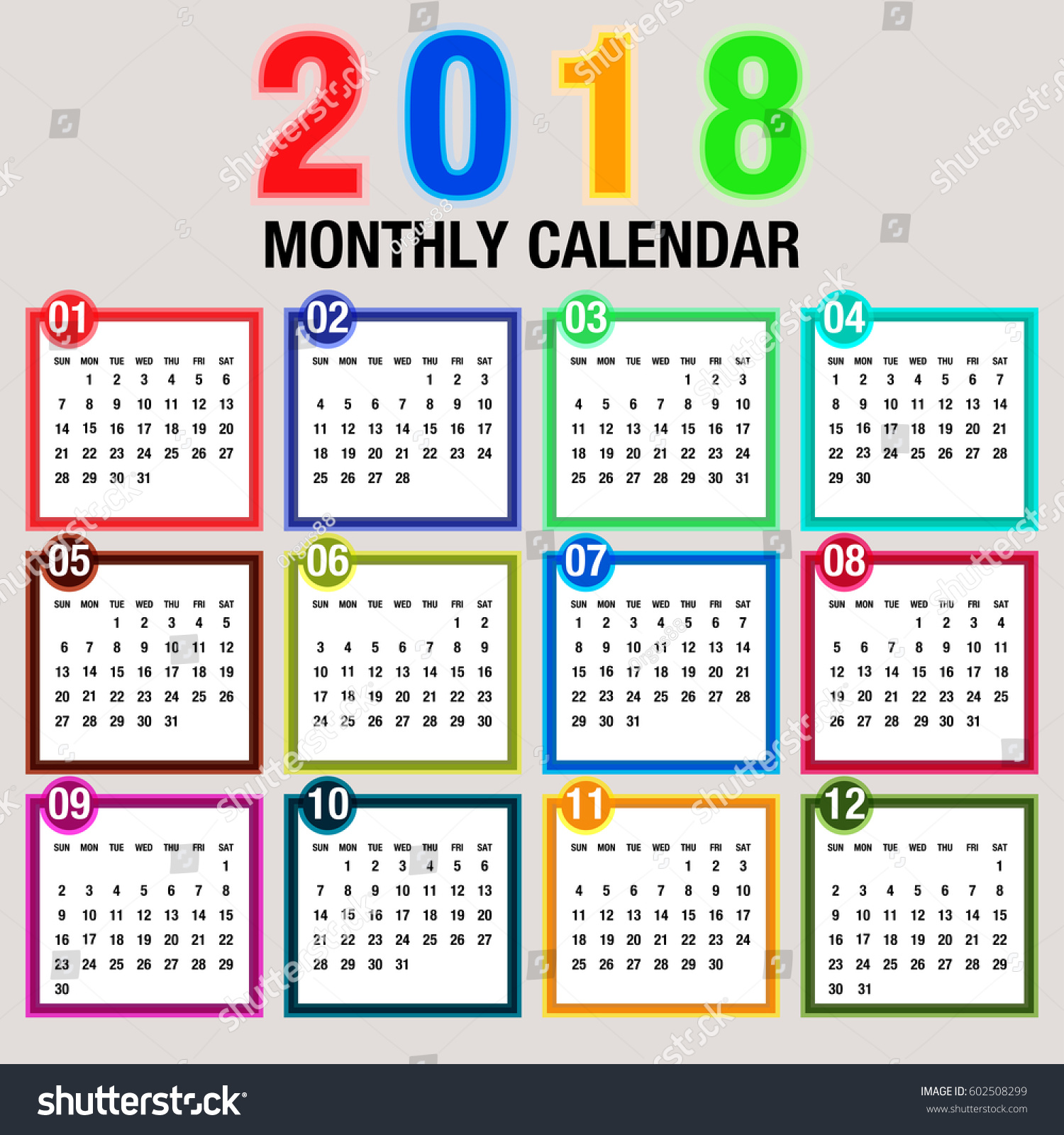 Vertical Calendar Design : Simple year vector calendar stock