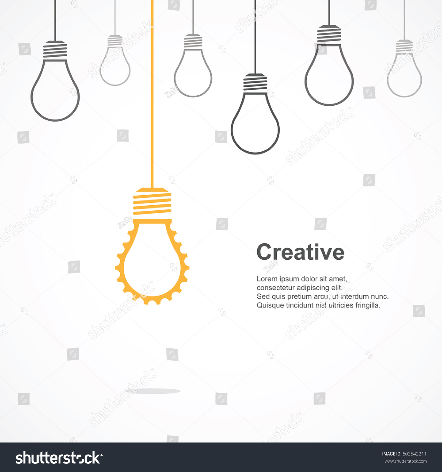 Creative Light Bulb Symbol Gear Sign Stock Vector Royalty Free