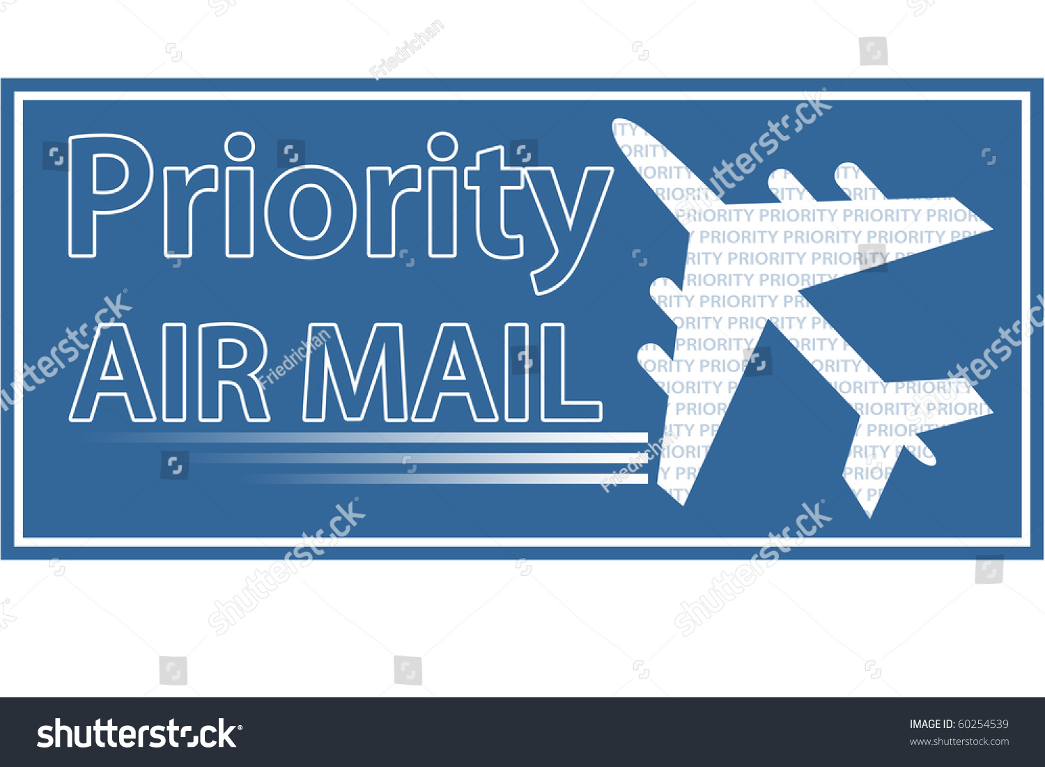 Priority Air Mail Stamp Sticker Seal Stock Illustration