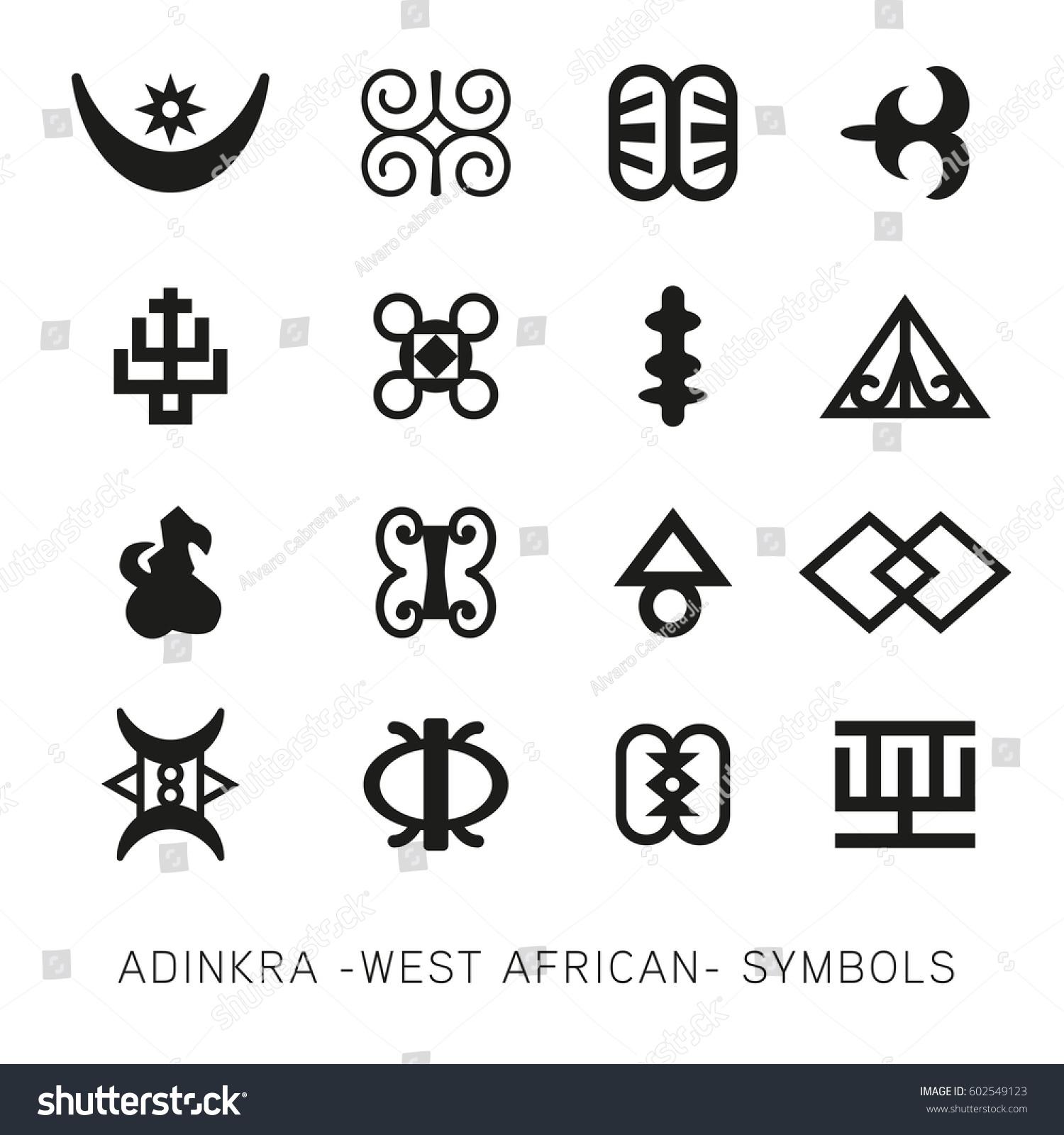 Set Akan Adinkra West African Symbols Stock Vector 602549123
