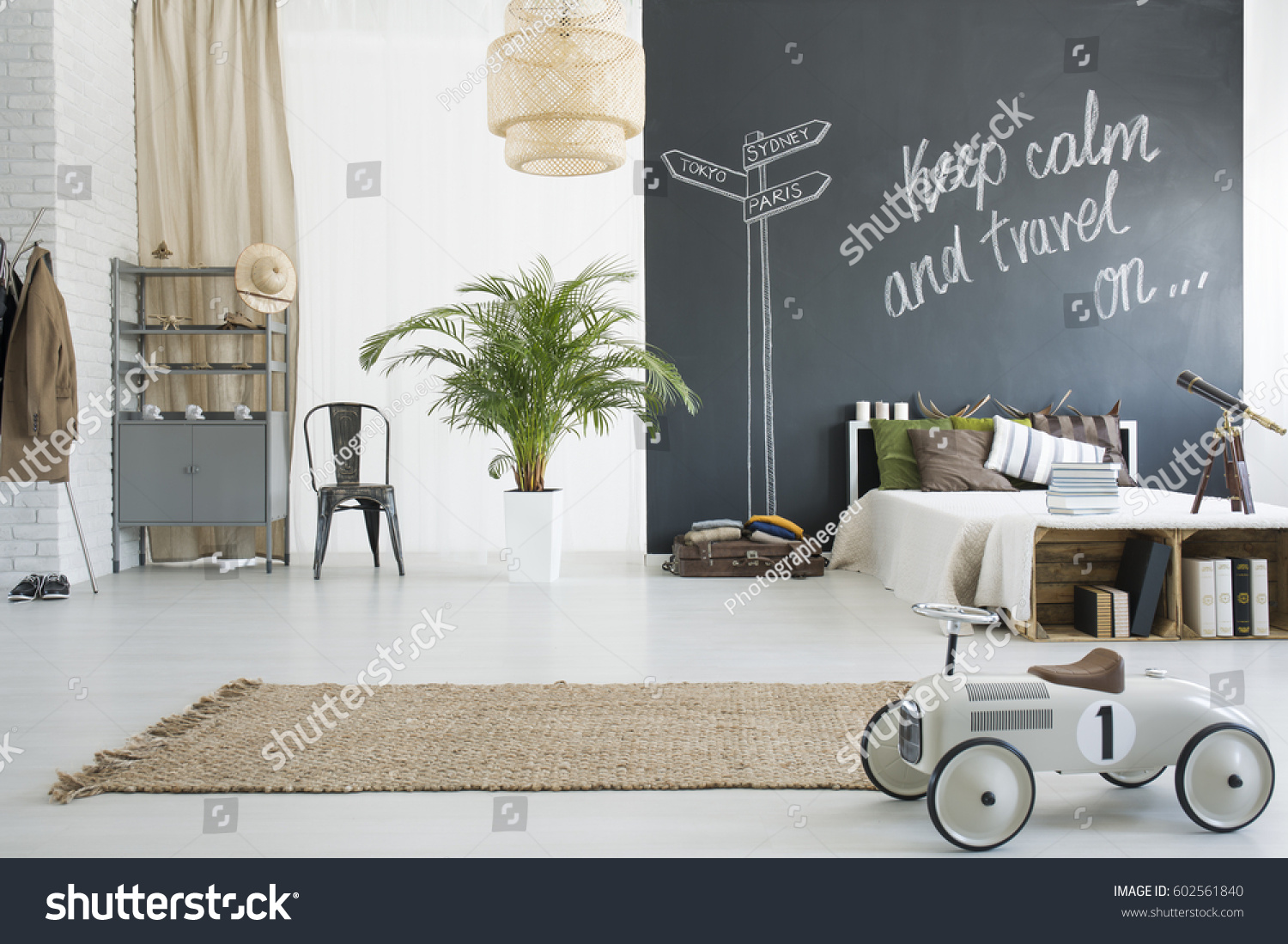 Spacious Travelthemed Bedroom Chalkboard Wall Plant Stock Photo