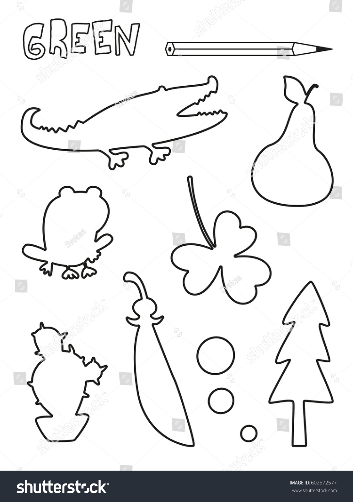 Coloring Page Green Things Set Single Color Worksheets Peas Crocodile Cactus