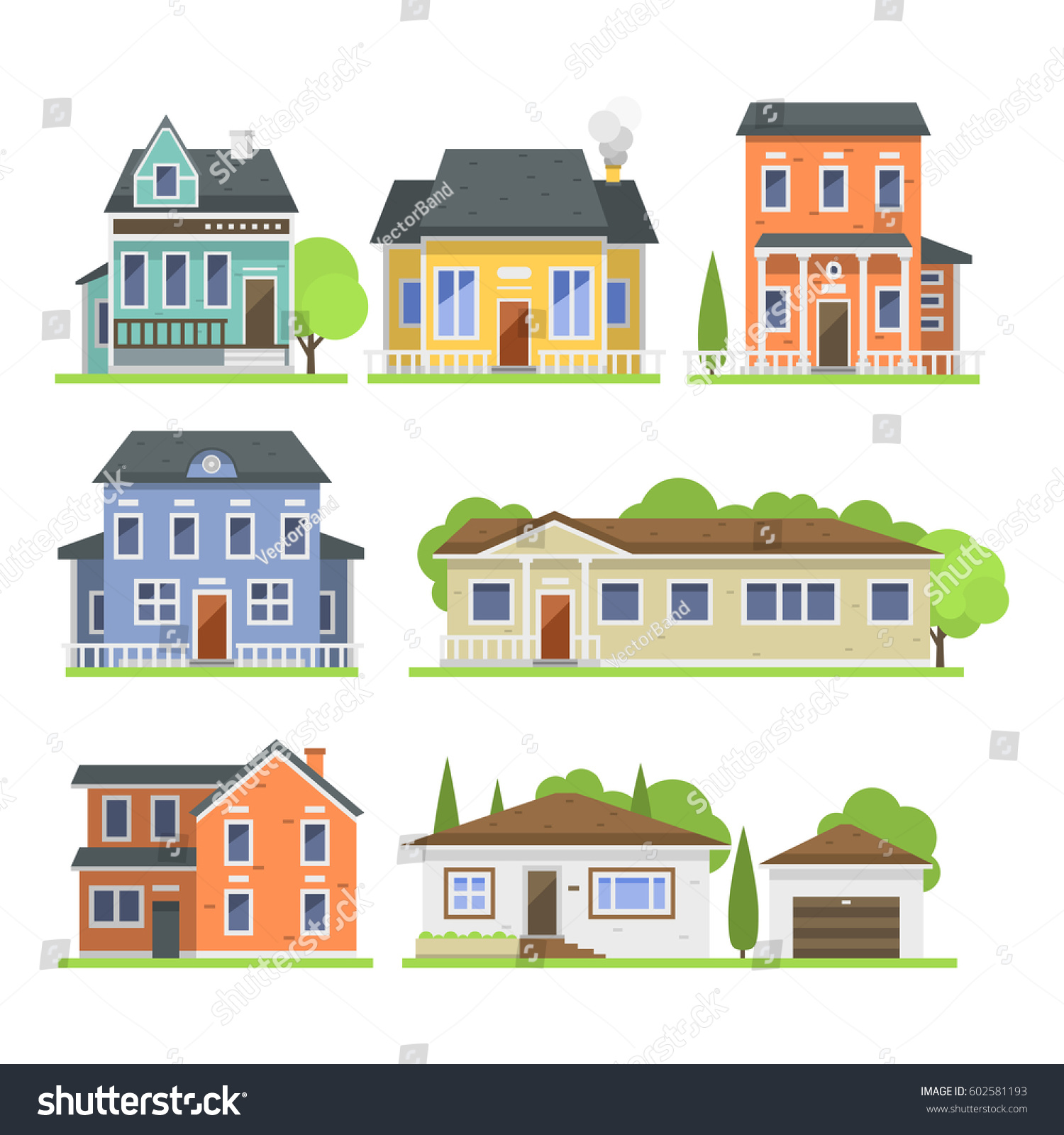 Cute Colorful Flat Style House Village Stock Vector 602581193 ...