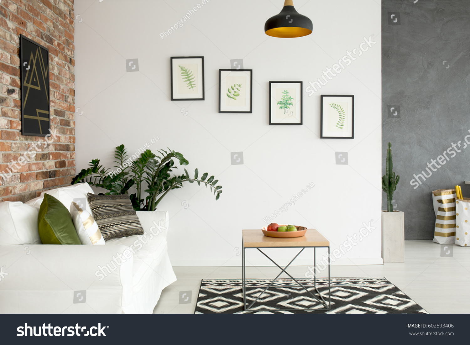 Bright Living Room With Sofa, Wall Poster And Wood Table Part 88
