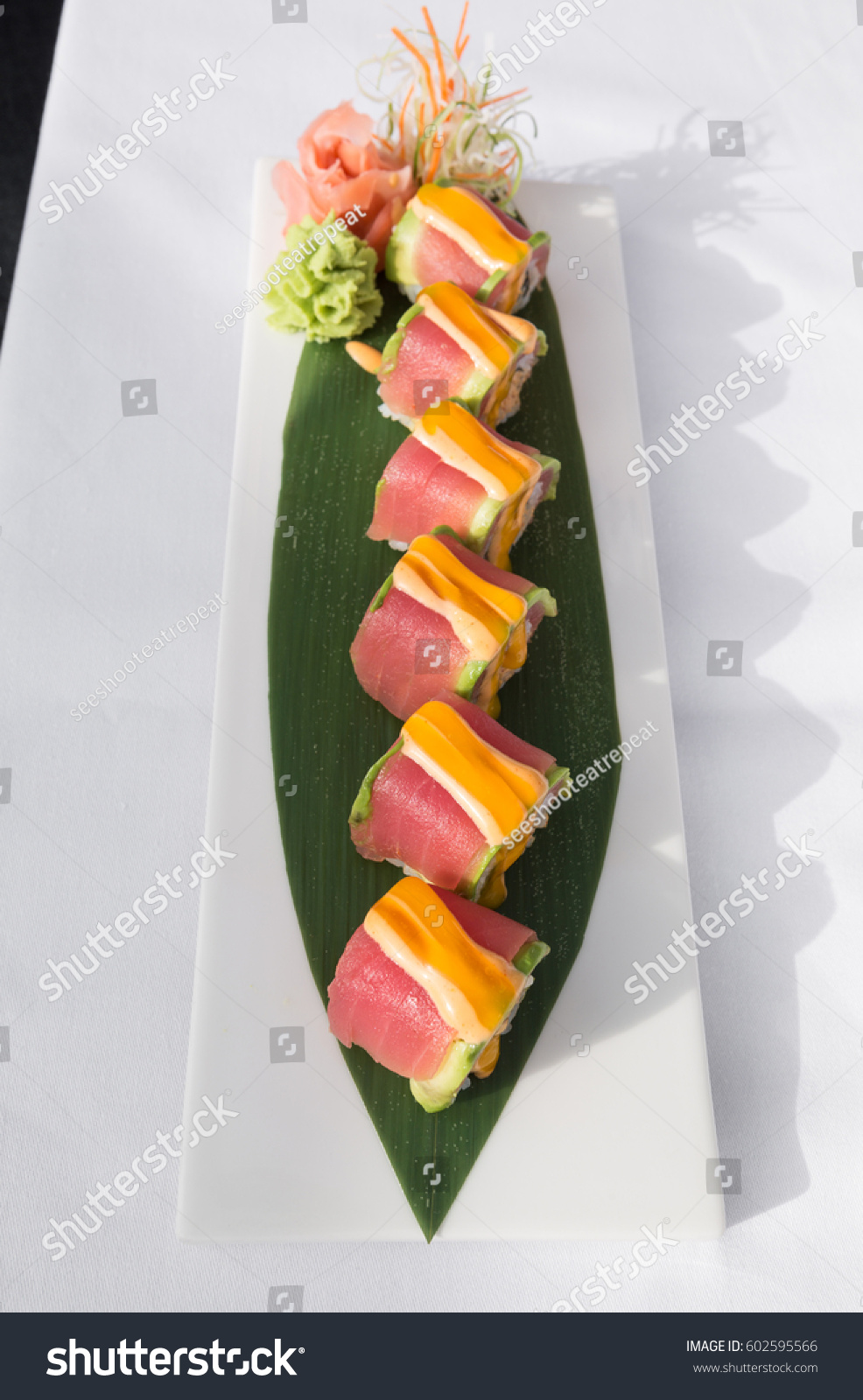 Sushi covered fish eggs served on stock photo 602595566 for Sushi fish eggs