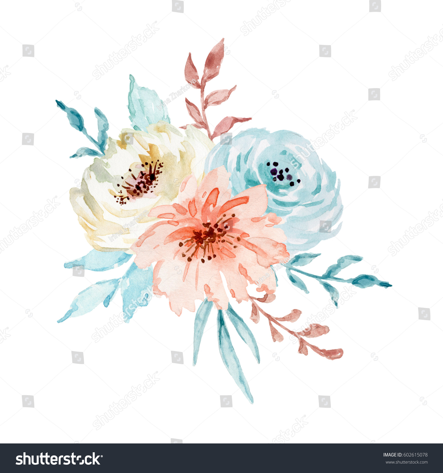 Painted Watercolor position Flowers Pastel Colors Stock