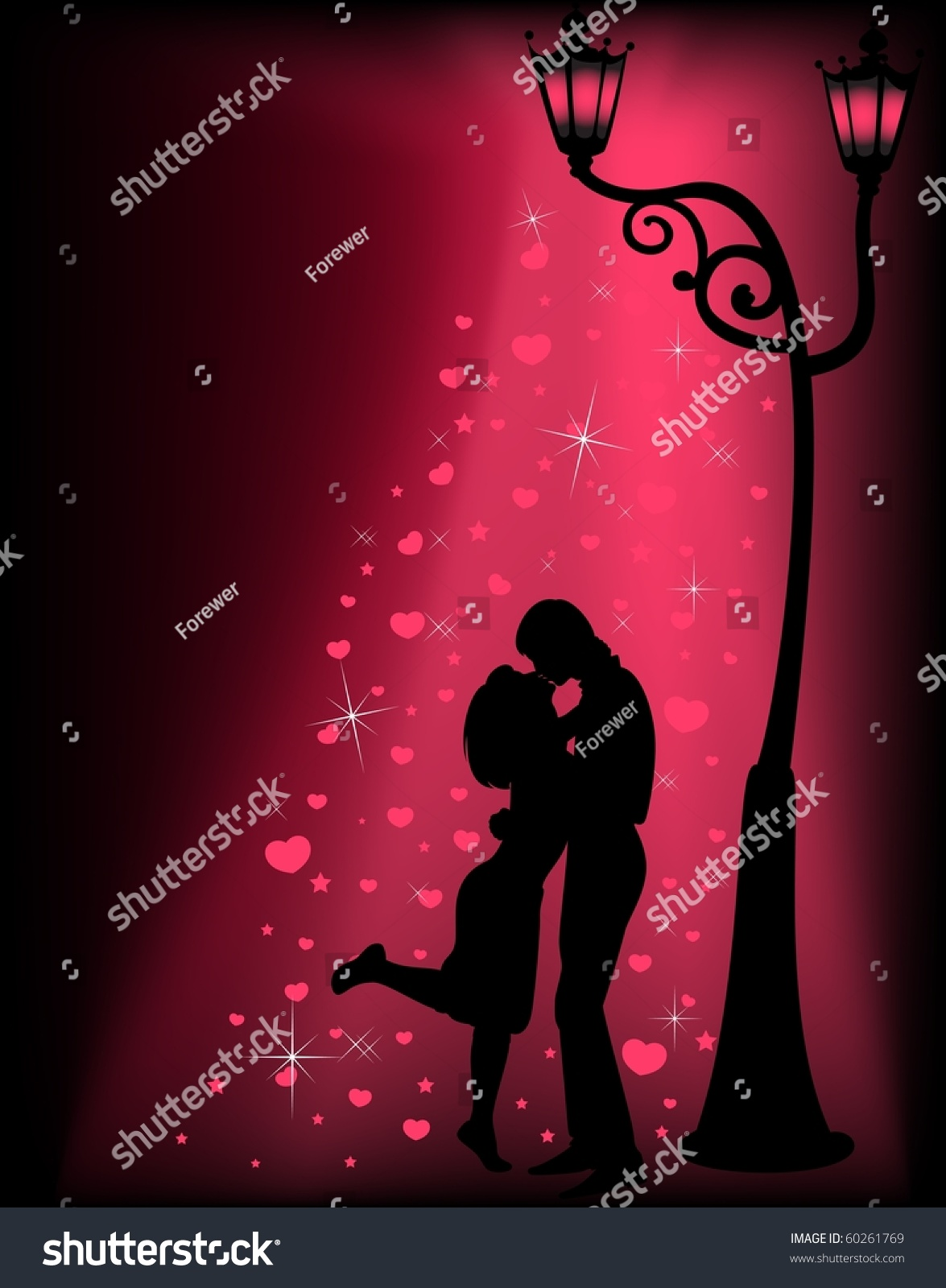 Silhouettes of two lovers under a lantern stock photo for 2 lovers pic