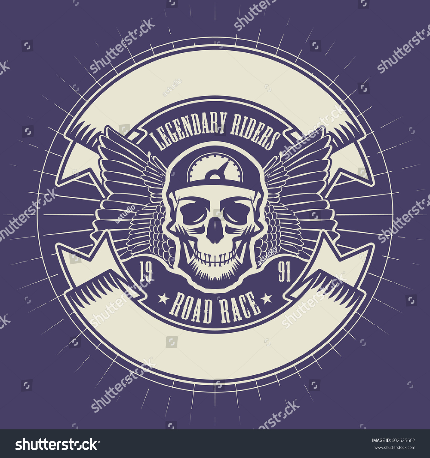 Bikers event festival emblem skull space stock vector 602625602 bikers event or festival emblem with skull and space for text vector illustration buycottarizona Images