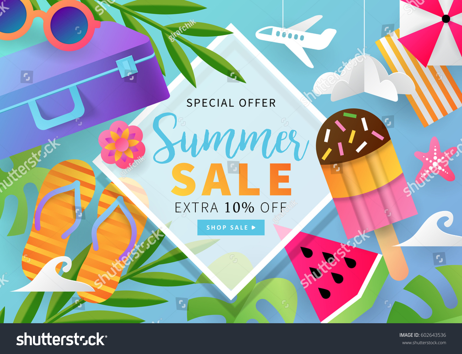 summer sale banner template social media stock vector 602643536 shutterstock. Black Bedroom Furniture Sets. Home Design Ideas