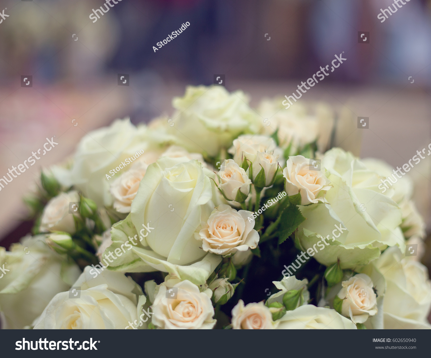 Bouquet Light Pink White Roses Wedding Stock Photo Edit Now