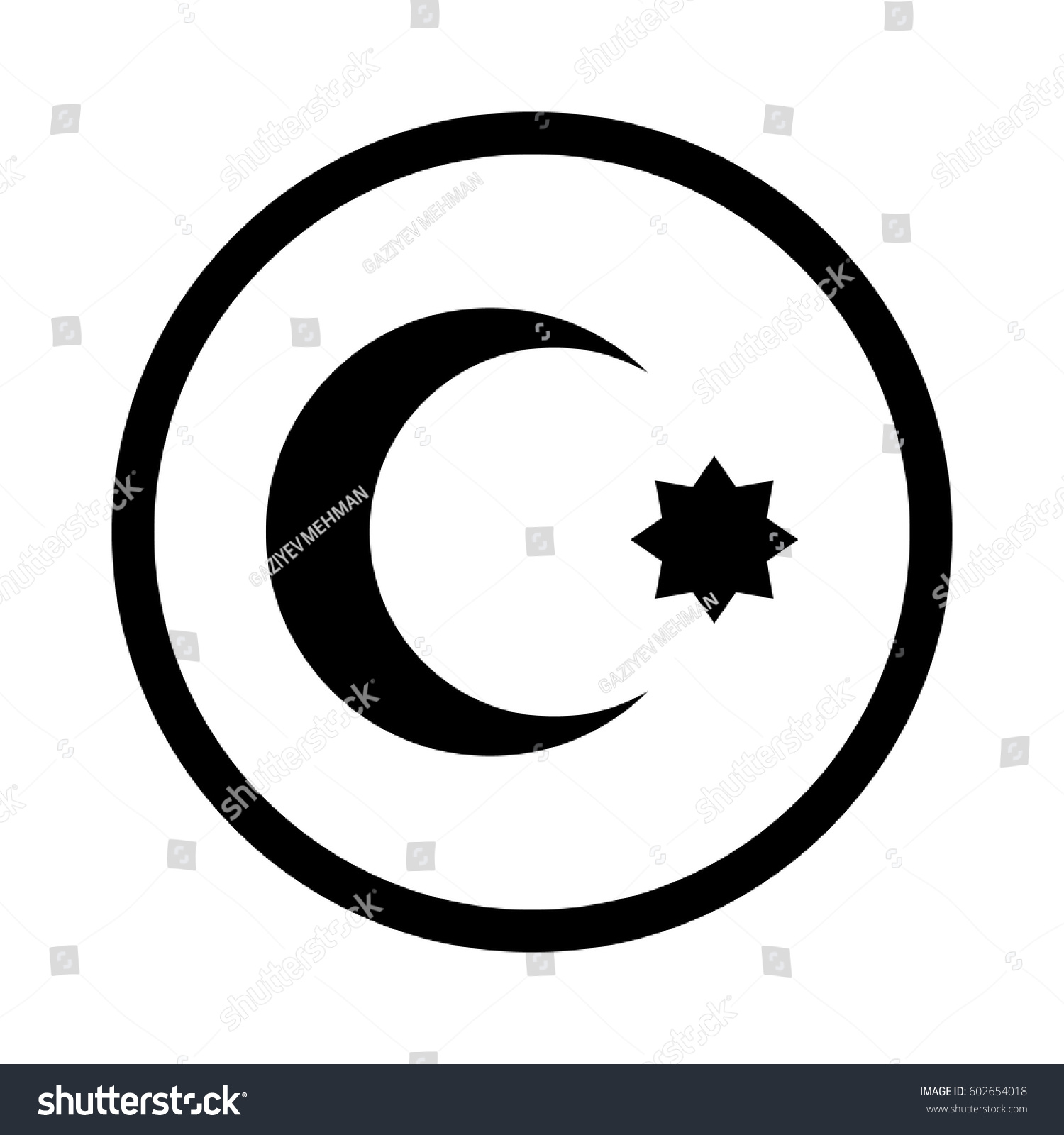 Symbol islam star crescent stock vector 602654018 shutterstock symbol of islam star and crescent buycottarizona Gallery