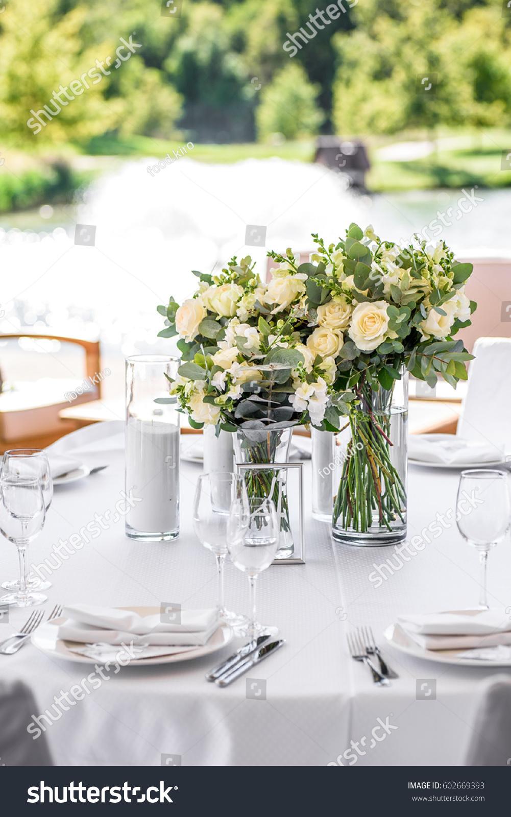 Decorations Wedding Ceremony Pink Blue White Stock Photo (Royalty ...