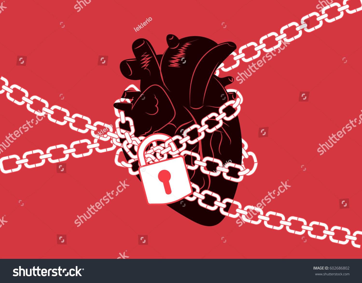 Anatomical human heart wrapped chains locked stock vector anatomical human heart wrapped in chains and locked with a padlock represents broken heart or biocorpaavc Images