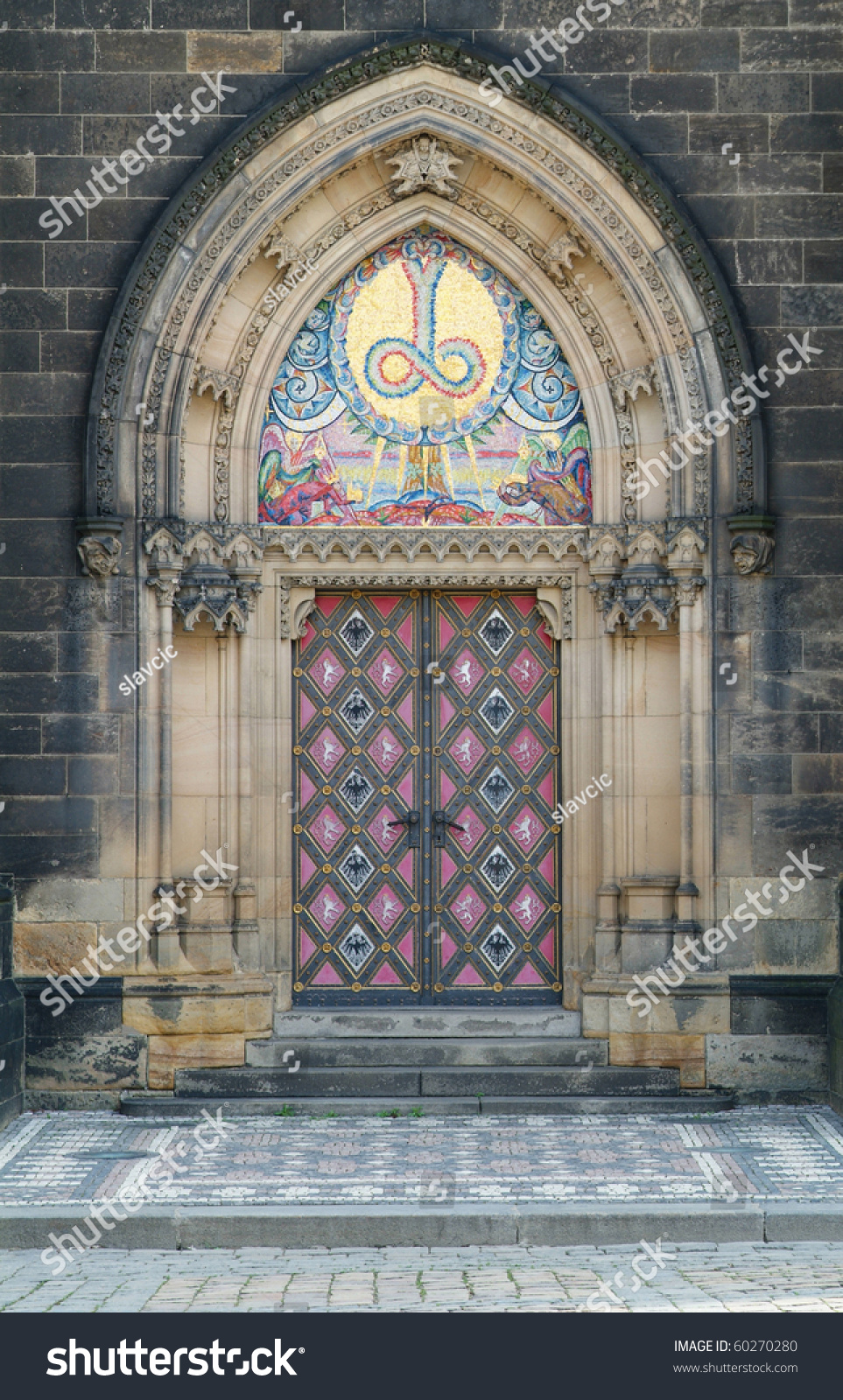 Stylish door entrance to the cathedral at vysehrad at for Door z prague
