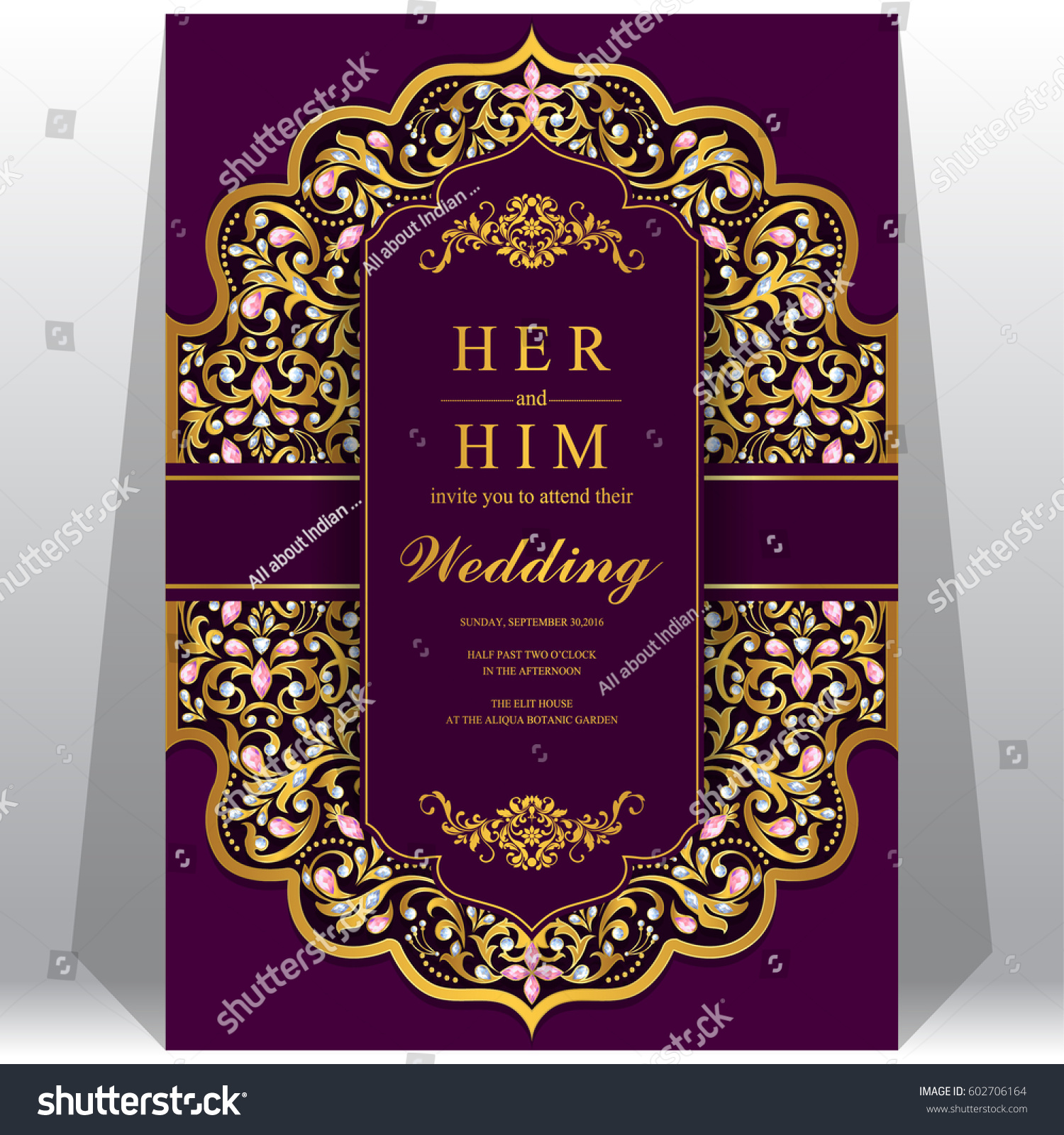wedding invitation card templates gold patterned stock vector