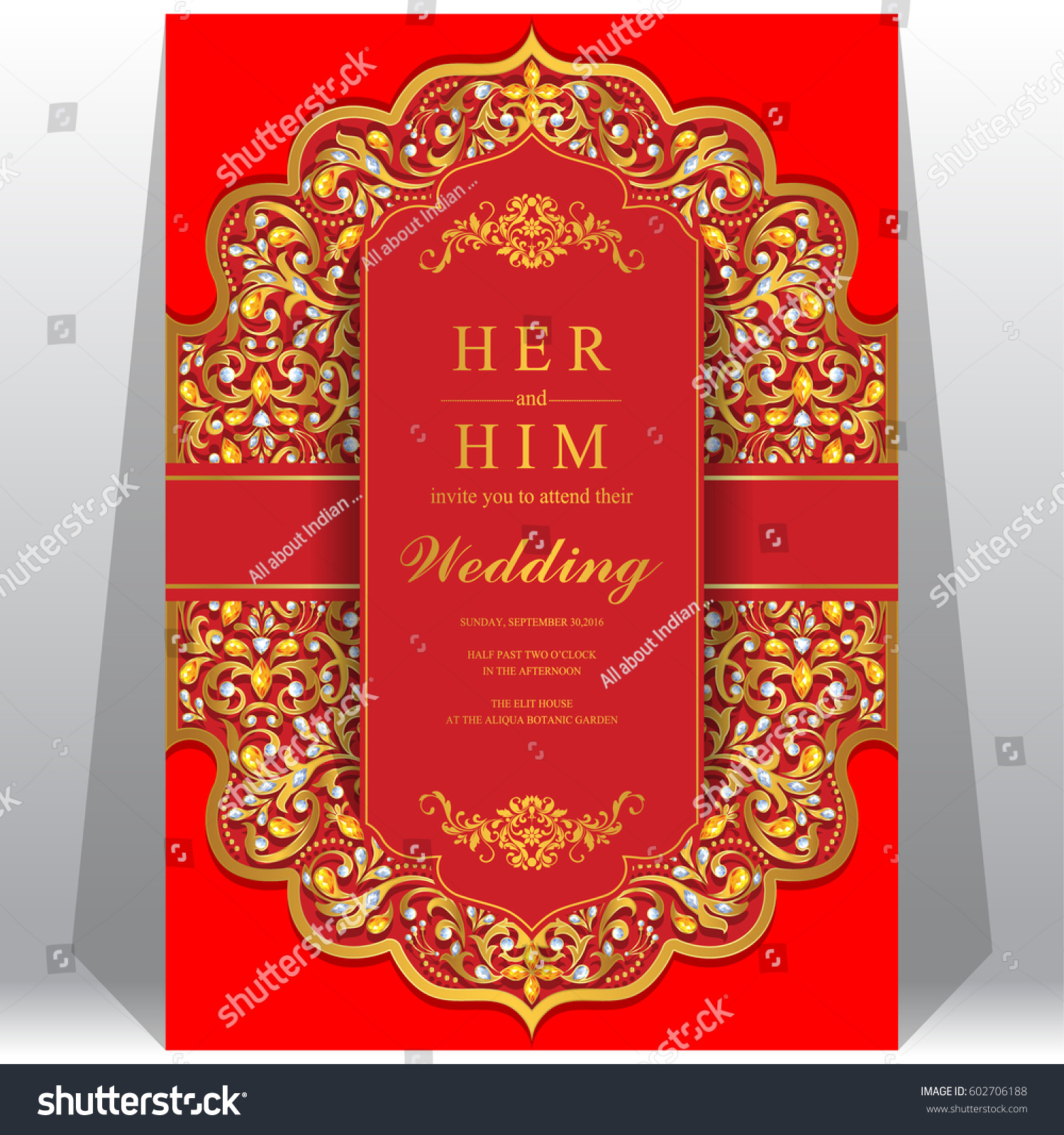 Wedding Invitation Card Templates Gold Patterned Stock Vector (2018 ...