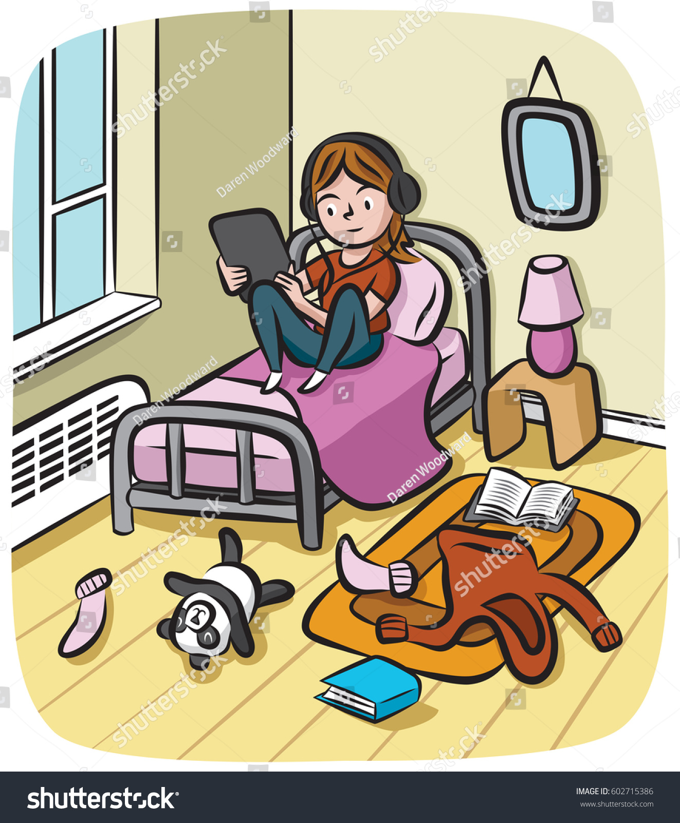Adolescent Girl Wearing Headphones Sits Her Stock Vector