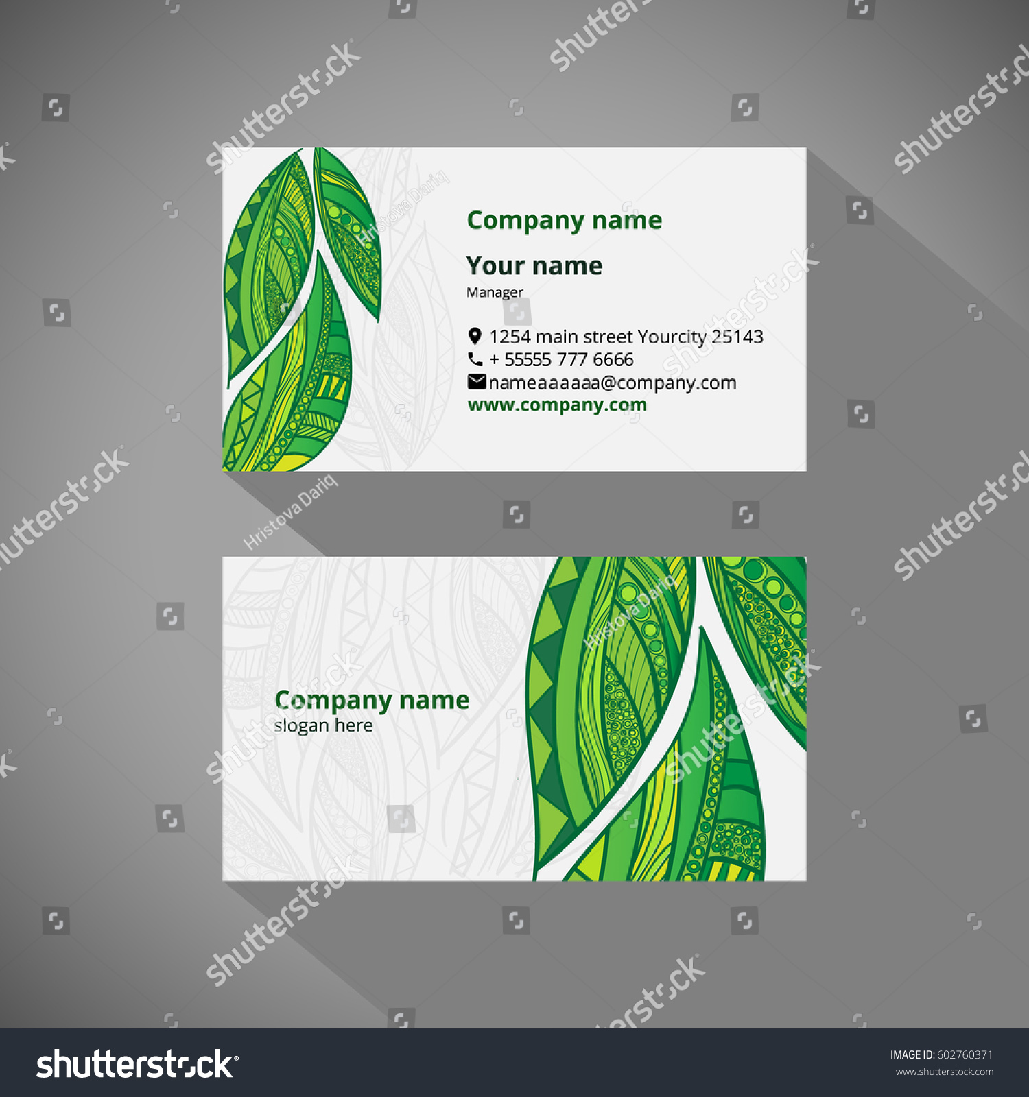 Vector Identity Templates Business Cards Zentangle Stock Vector ...