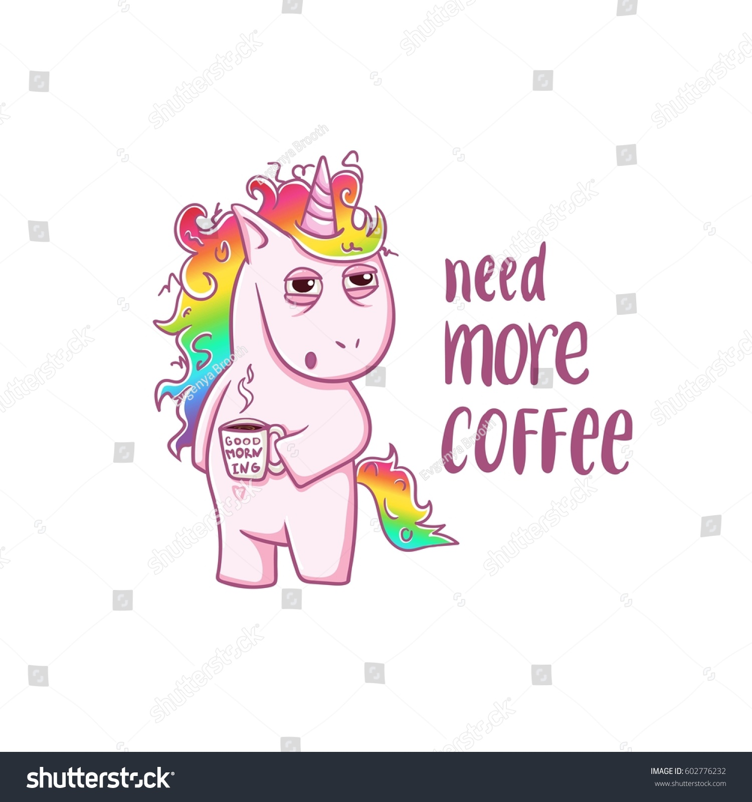 unicorn needs coffee good morning magic stock vector Wildlife Clip Art Wildlife Clip Art