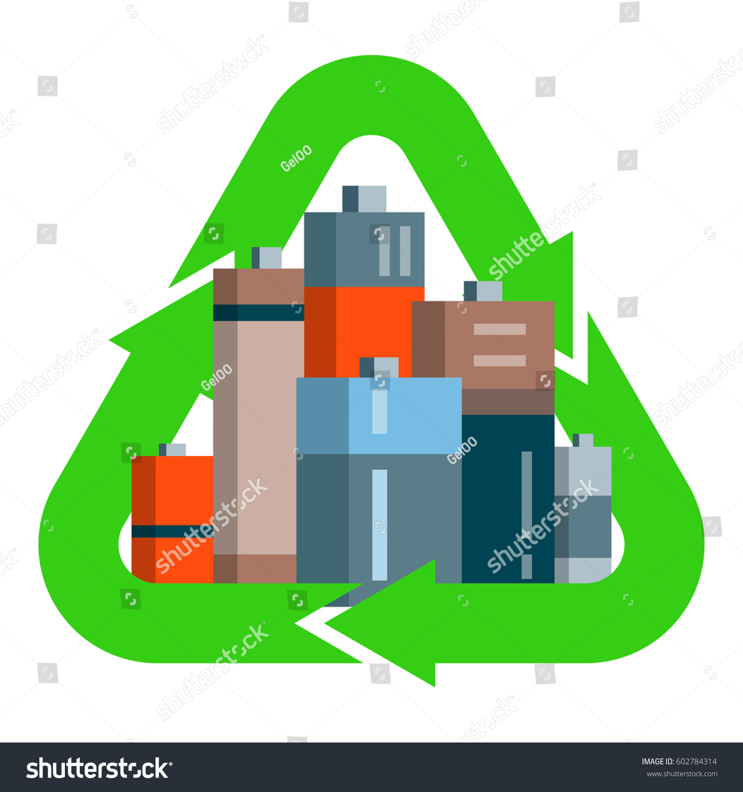 Used Batteries Green Recycling Symbol Cartoon Stock Vector Royalty