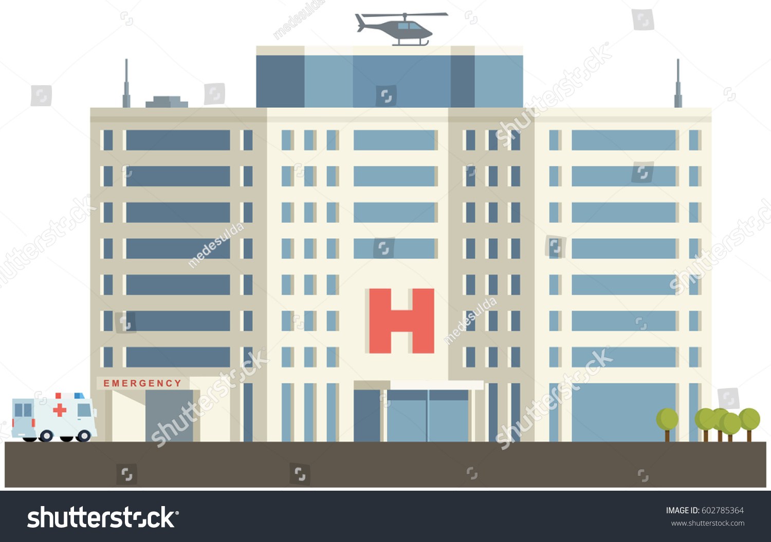 Hospital building flat design stock vector 602785364 shutterstock hospital building in flat design malvernweather Images