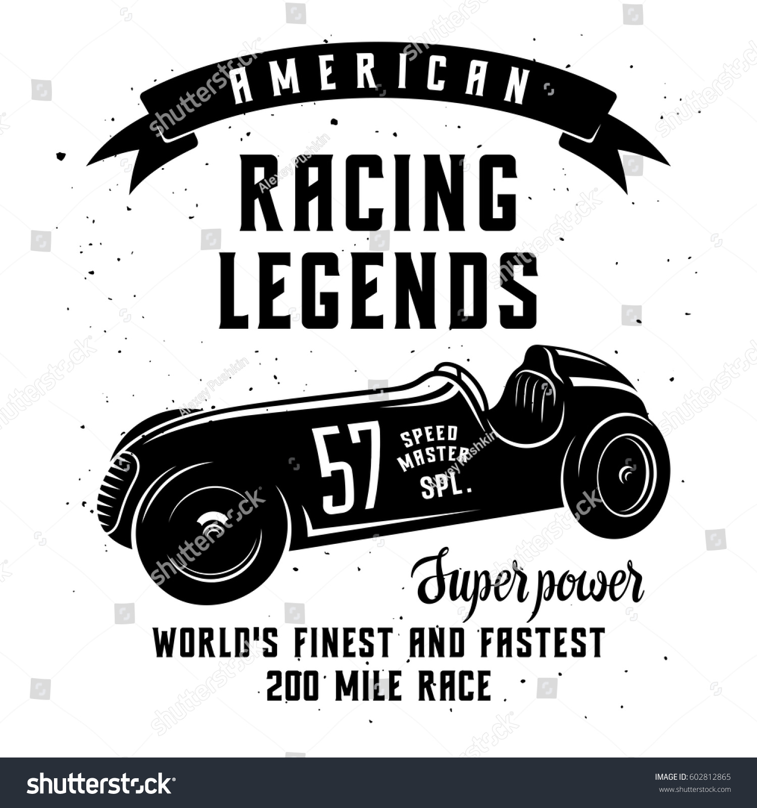 Racing Car Tshirt Graphics Speed Racer Stock Vector 602812865 ...
