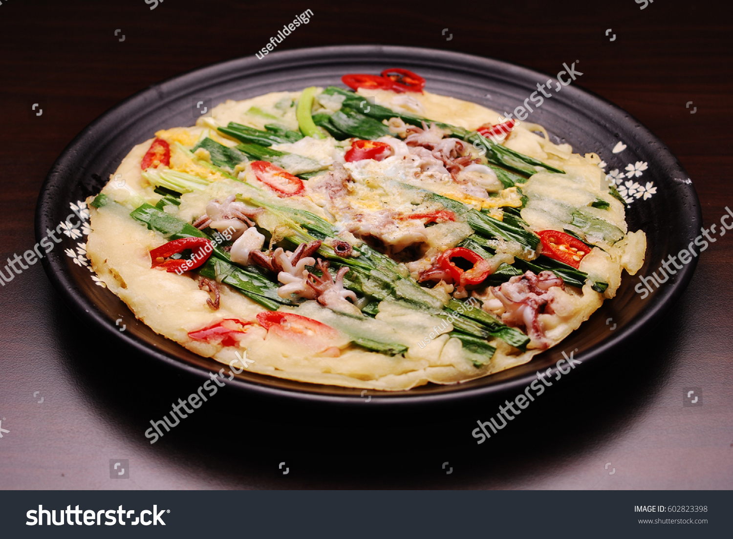 Korean food seafood pancake haemul pajeon stock photo royalty free korean food seafood pancake haemul pajeon welsh onion green onion scallion forumfinder Images