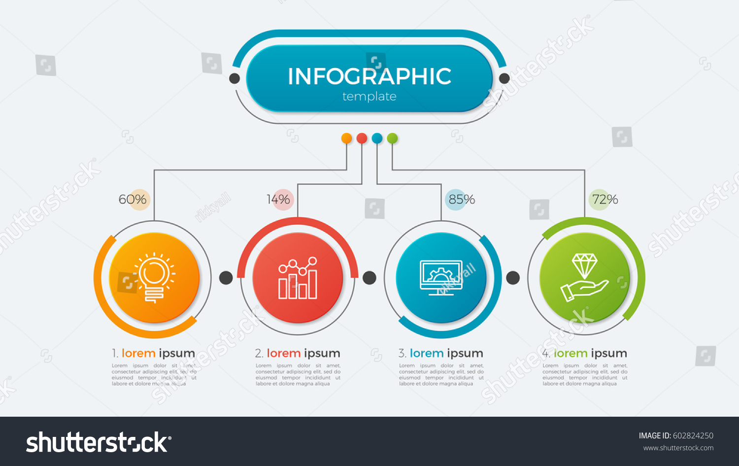 presentation business infographic template 4 options stock vector