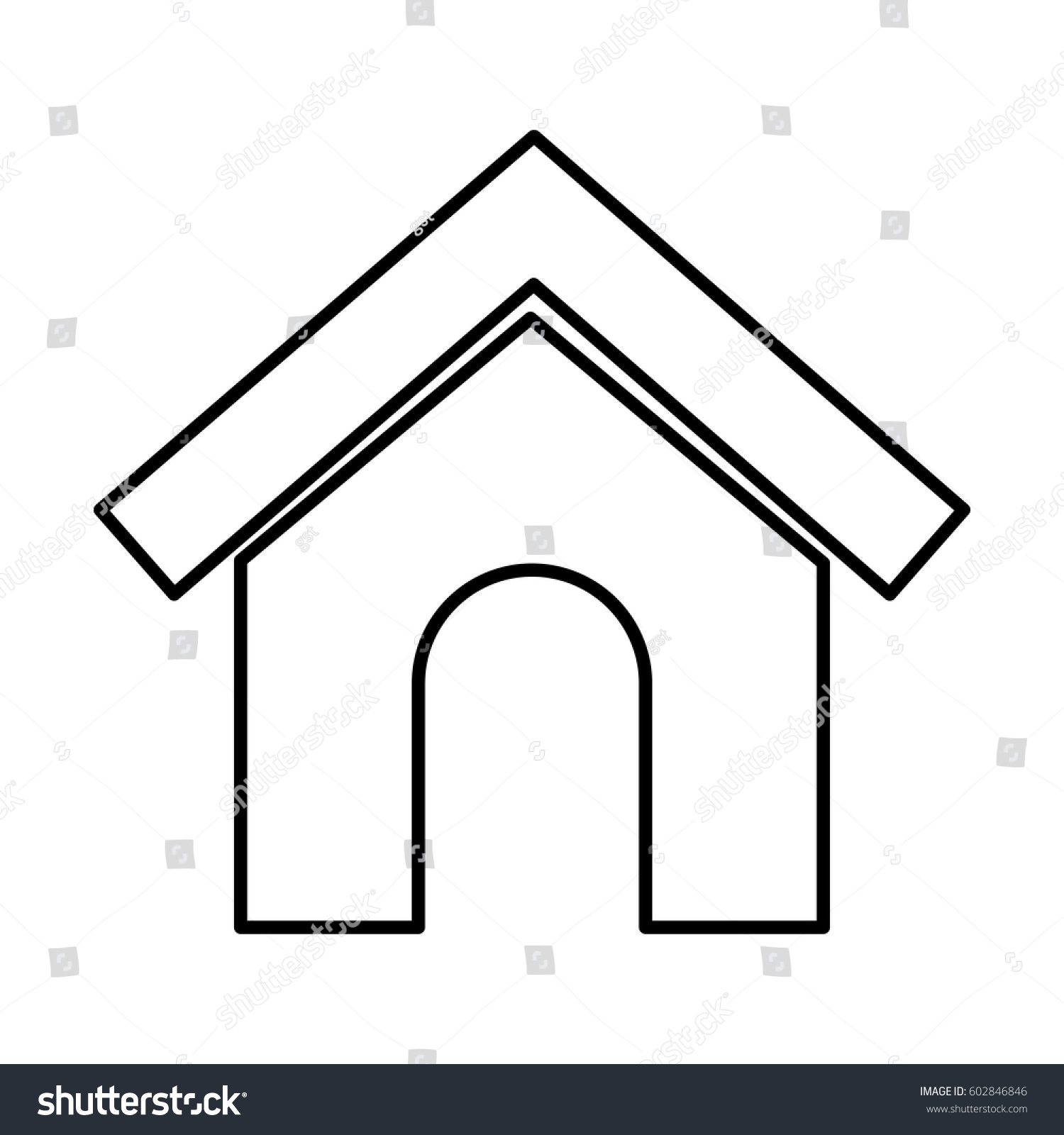 Mascot House Silhouette Isolated Icon Vector Stock Vector