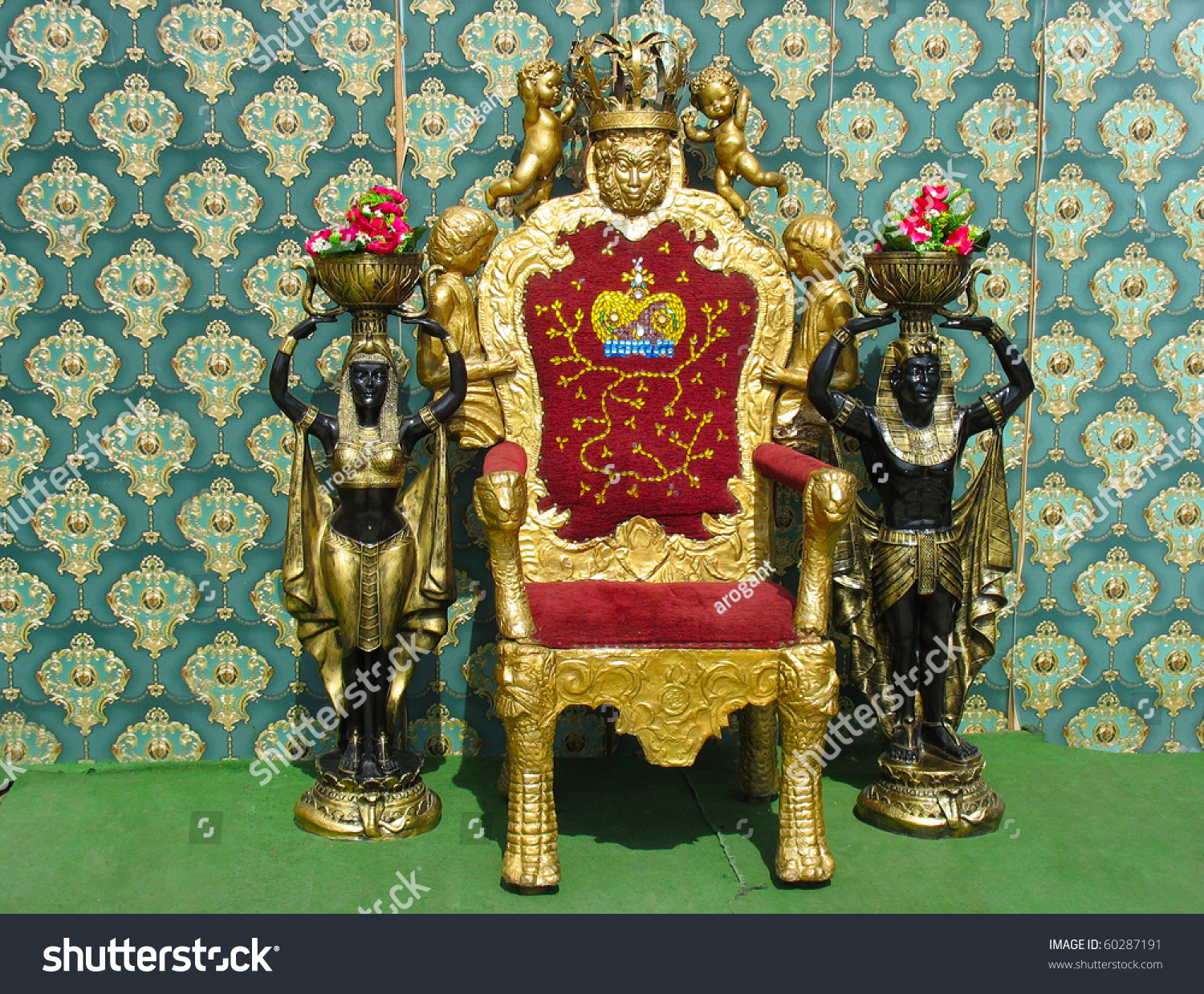 Golden Vintage Luxury Throne Chair Two Stock Photo