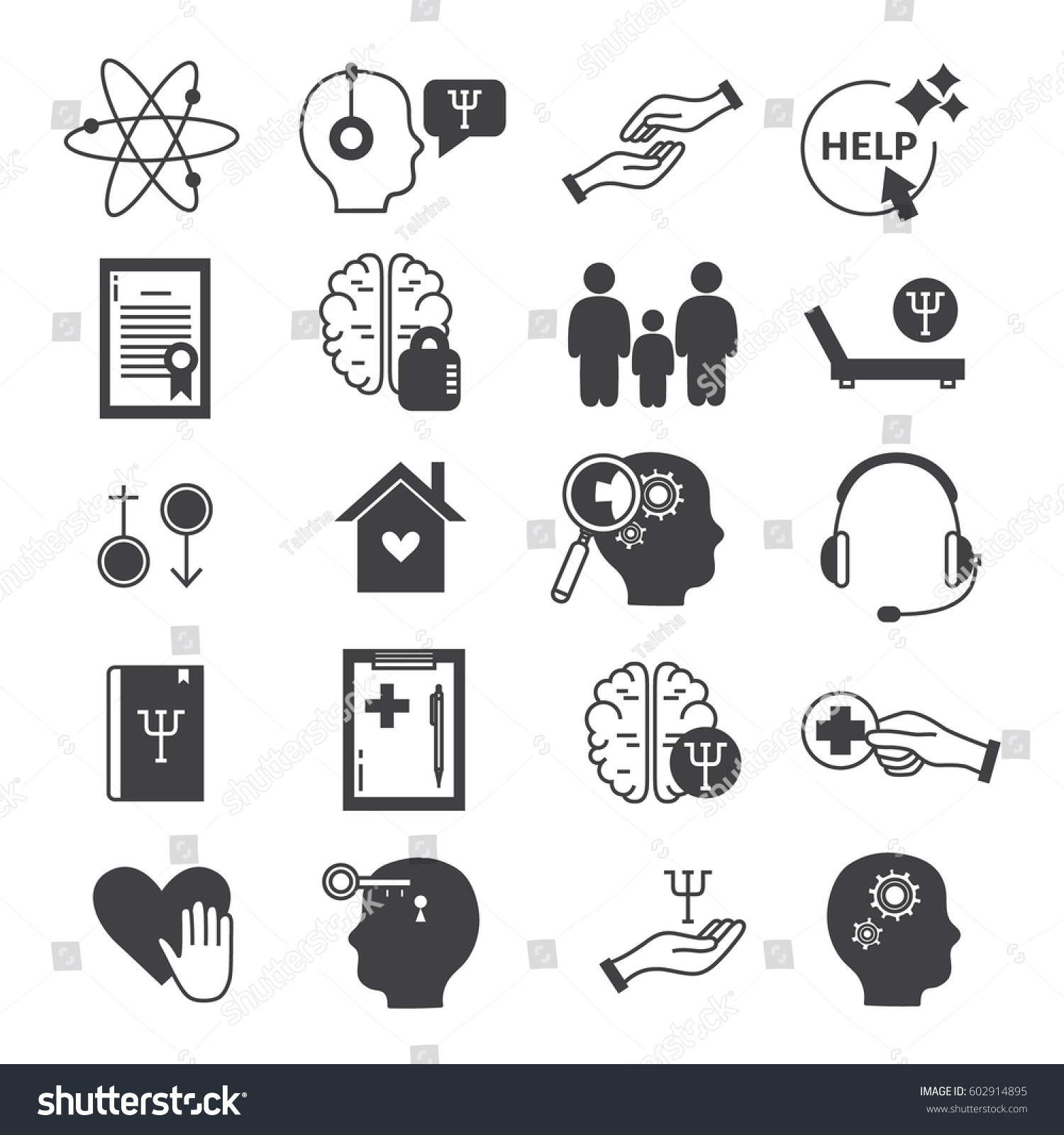 Big Set Symbols Psychological Help Modern Stock Vector Royalty Free
