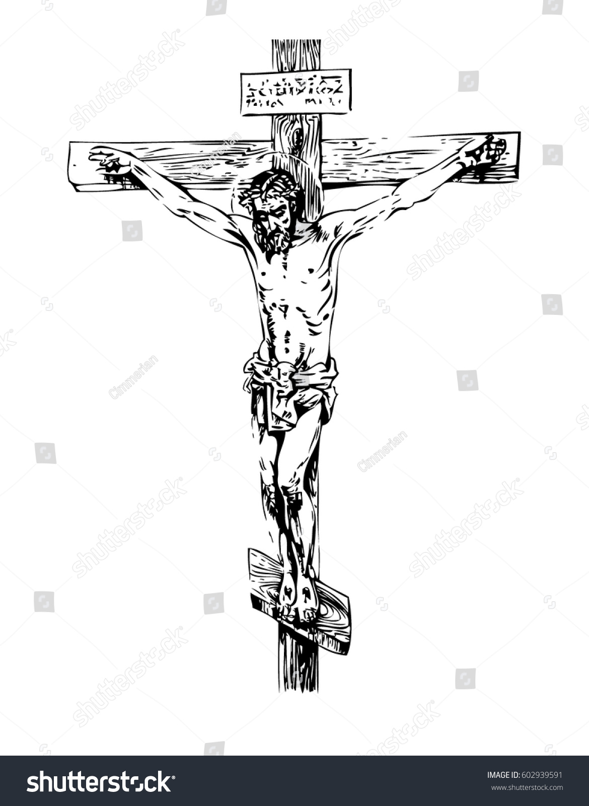 jesus christ crucifixion hand drawing stock vector 602939591