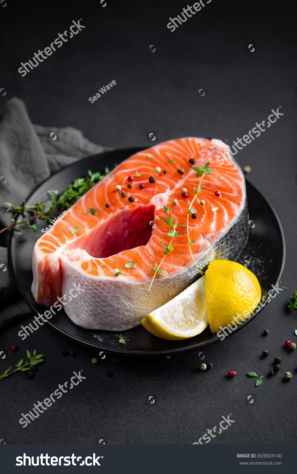 Salmon fish steak lemon thyme on stock photo 603003140 for Fish thyme menu